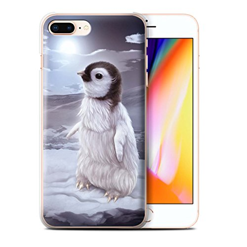 Officiel Elena Dudina Coque / Etui pour Apple iPhone 8 Plus / Loups Blancs Design / Les Animaux Collection Le Voyageur/Manchot