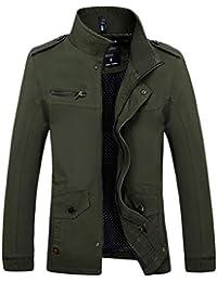 2a3ebe9eefbc YuanDiann Homme Casual Style Militaire Grande Taille Trench Coat Veste Col  Debout Épaulette Respirant Coupe Vent Outdoor Blouson Manteau…