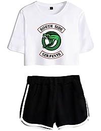 ZIGJOY Riverdale Crop Top T,Shirts et Shorts Vêtements Costume pour Les  Filles et Les