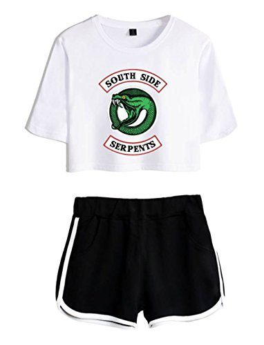 ZIGJOY Riverdale Crop Top T-Shirts und Shorts Kleidung Anzug für Mädchen L