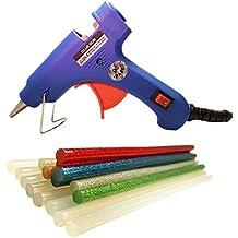 Pistola de silicona caliente con 16 barras EXTRA LARGAS. 8 de pegamento transparente (20cm) y 8 de colores con purpurina (18cm). Herramienta imprescindible para bricolaje. pistola de pegamento ideal para manualidades. Azul.