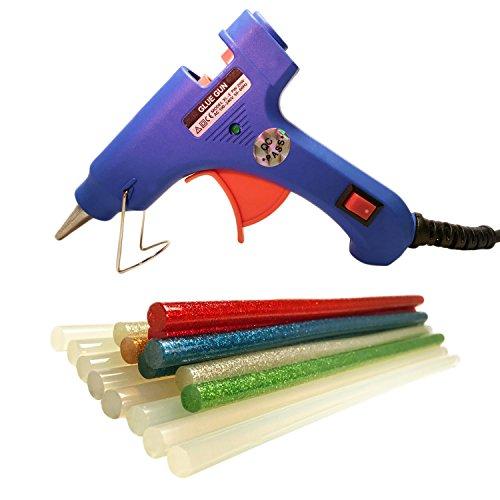 Preisvergleich Produktbild Heissklebepistole Hot mit 16Stangen Extra Lang 8-Kleber transparent (20cm) und 8Farben mit Glitzer (18cm) referenzgerät für bricolaje. Klebepistole basteln. Blau.