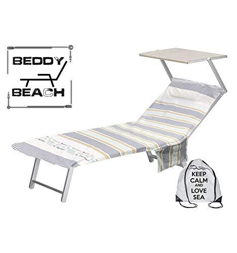 tex family Telo Mare fouta Lettino Riga in Cotone BEDDY Beach  con Tasche Misura CM. 75 X...