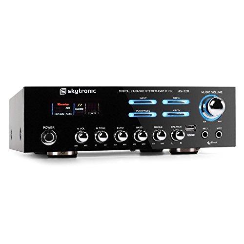 Skytronic 103.204 AV-120 AmplificadorPA HiFi Karaoke USB (Potencia de 2X W RMs, para Dos micrófonos, Efecto Eco, Volumen, Sonido, Eco Ajustables, diseño Atractivo)