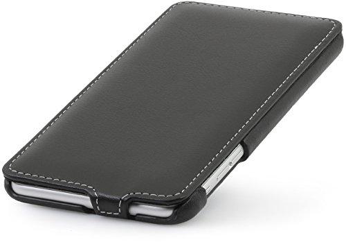 StilGut UltraSlim Case Hülle Leder-Tasche für iPhone 6 Plus. Dünnes 360 Grad Flip-Case vertikal klappbar aus Echtleder für das Original iPhone 6 Plus (5,5 Zoll), schwarz Schwarz- Nappa
