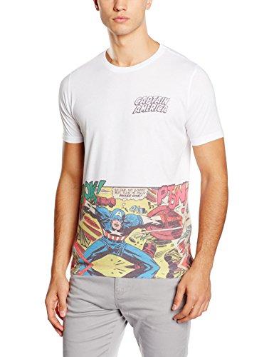 Rockoff Trade Captain America Comic Strip Pocket Logo Sublimation, Camisetas para Hombre,...