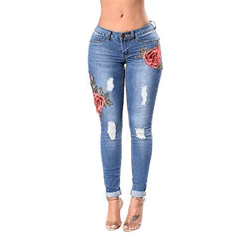 hopin Leggings de Jean Skinny de Mujer Pantalones Vaqueros Desgastados Desgastados Jeggings Bordados con Flores (M)