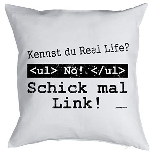 Nerd Kissen <-> Schick mal Link! <-> ultimatives Geschenk für Computer-Freaks, Goodman Design®Weiss