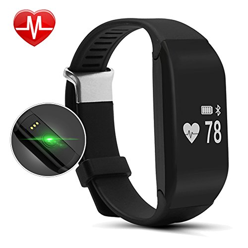 Willful SW323 Fitness Tracker with Heart Rate Monitor - Waterproof Pedometer Watch Bluetooth Smart Sport Bracelet with Step and Calorie Counter,Sleep Monitor,Heartbeat Tracker,Vibrating Alarm for iPhone Samsung IOS & Android Phones for men Women