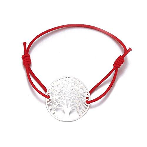 Baum des Lebens Armband für Frauen, Stretch-Armband Charm Freundschaft Manschette Armband Mädchen Gold Silber Armband (Silber Überzogenes Rotes Seil) - Die Geld-baum Für Partei