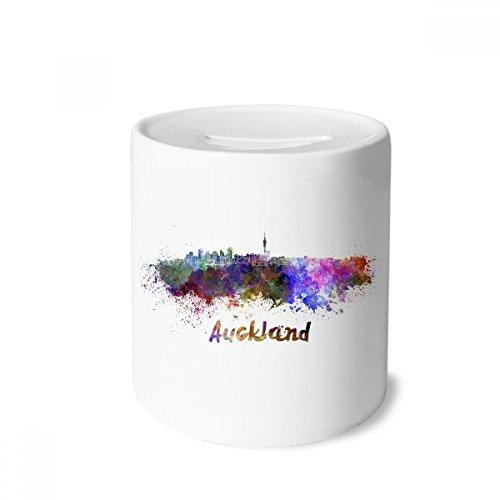 DIYthinker Auckland Neuseeland Stadt Aquarell-Geld-Kasten Sparkassen Keramik Münzfach 3.5 Zoll in Height, 3.1 Zoll in Duruchmesser Mehrfarbig