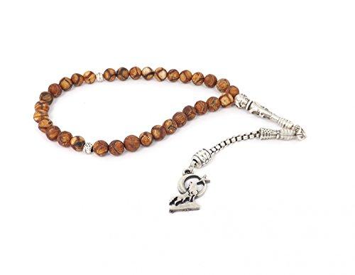 Gebetskette - Tesbih 33 Perlen aus Achat Braun mit Anhänger 'Heulender Wolf' Mond Ay Yildiz