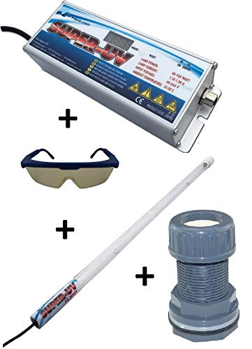 Air Aqua Hochleistungs-Tauch UVC Lampe Amalgam 40 Watt Bausatz Koi-Teich, Pool inkl. Durchführung und Schutzbrille