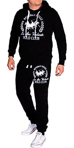 Herren Jogginganzug Polo Club (L-Slim, Schwarz)