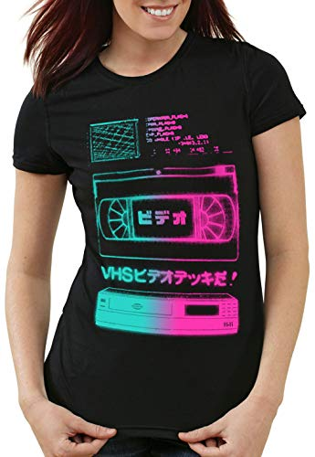 A.N.T. VHS Tape Damen T-Shirt videokassette VCR Fernseher showview, Größe:XL