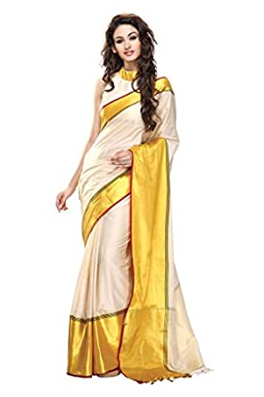 Roop Kashish Cotton Saree With Zari Border Saree (Benaaz_White And Yellow)