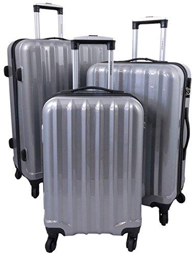 Polycarbonat Hartschalen Koffer Trolley Reisekoffer Reisetrolley Handgepäck Boardcase im klassischen Design - Miami 3tlg. (Silber)