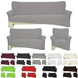 Nurtextil24 Sofahussen Bi-elastisch Jersey 10 Farben und 3 Größen Baumwolle Grau für 3er Sofa