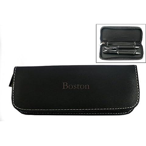 Set de pluma en estuche de cuero artificial con nombre grabado: Boston (nombre de pila/apellido/apodo)