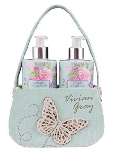 Schmetterling Seife & Handcreme im Spender für einfaches dosieren (2x250ml) Geschenkset, liebevoll verpackt im Geschenkkörbchen aus Filz mit Schmetterling-Applikation. (3,98 EUR / 100ml)