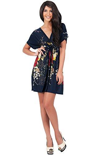 KOH KOH® Femmes Robe d'été Mini Imprimé Fleur Bleu Marine