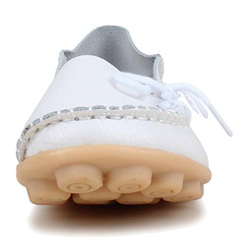 Oriskey Mocassins Femme Cuir Loafers Casual Bateau Chaussures de Ville Flats Blanc