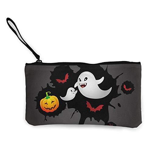 Coin Purse Halloween Ghost Cute Travel Makeup Pencil Pen Case With Handle Cash Canvas Zipper Pouch 4.7