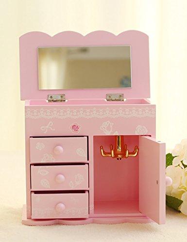 CRSHOUSHIHE Scatola di gioielli  Legna 4 ° piano con uno specchio Jewelry Box di stoccaggio Regalo di compleanno ( colore : C ) - 4 C Gemme Gioielli