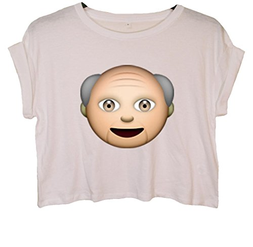 Old Man Emoji Crop Top Weiß