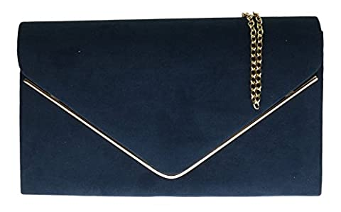 Girly HandBags Faux Suede Clutch Bag Envelope Metallic Frame Plain