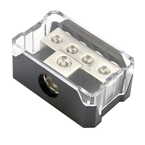RKURCK 4 way Power Distribution Block, 0/2/4 AWG Gauge in, 4/8/10 Gauge Out, Car Audio-Stereoverstärker-Verteilerblock für Audio-Splitter (1 in 4-Ausgang) 10 Gauge Amplifier Kit