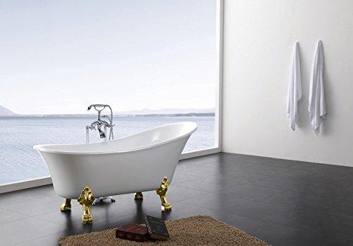 Freistehende Badewanne PARIS Acryl weiß BS-830 176 x 71 cm - Metallfüße wählbar, Farbe der Füße:gold, Standarmatur:inkl. Standarmatur 1414 Gold