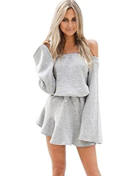 Da donna Partito sexy Fuori dalla spalla Manica lunga Cocktail Mini abito (Grigio, XL)