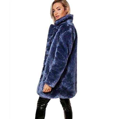 Damen Lange Sunday Wintermantel Verdicken Warme Pelzmantel Weibliche Oberbekleidung (Blau, L)