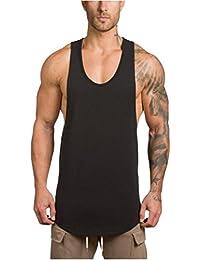 LuckyGirls Camisetas Hombre Sin Manga Verano Camisa Color Sólido Casuales Deportivas Músculo Gimnasios Polos Slim Remera (XL, Negro)