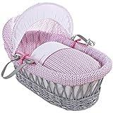 Clair de Lune Barley - Capazo para bebés, mimbre, incluye ropa de cama, colchón y capucha ajustable, color rosa y gris
