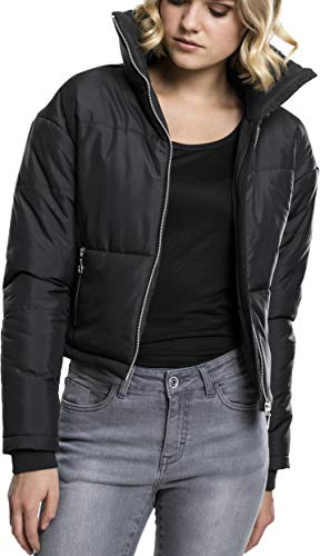 Urban Classics Damen Ladies Oversized High Neck Jacket Jacke,, per pack Schwarz (black 7), Small (Herstellergröße: S)