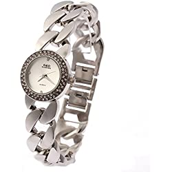 Sheli Female Causal All Silver Rhinestone Analogue Water Resistant Tiny Slim Banlge Watch