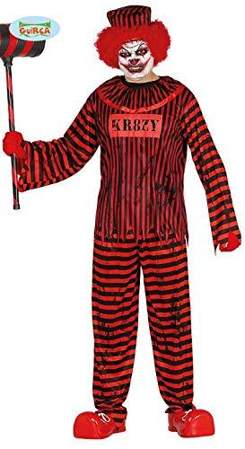 Psycho Horror Clown für Herren Halloween Killer Verrückt Killerclown Gr. M - L, (Psycho Killer Clown Kostüm)