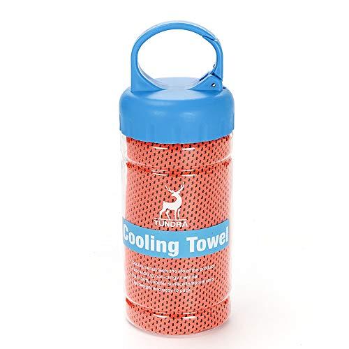 EXQUILEG Mikrofaser-Handtuch Kühlendes Handtuch EIS Kalt Sport Handtücher Quick Dry Handtuch100 x 30 cm, bei Allen Arten von Sport und Training (Orange) (Eis Angeln Handtuch)