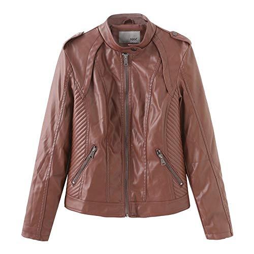 GQDP Damen Leder Damen Lederjacke Slim Jacket Motorradjacke Jacke Mantel
