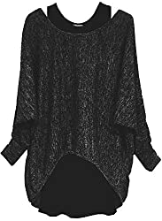 Emma & Giovanni - Damen Oversize Oberteile Tshirt/Pullover (2 Stück) / Made In Italy, XL-XXL,  Schwarz