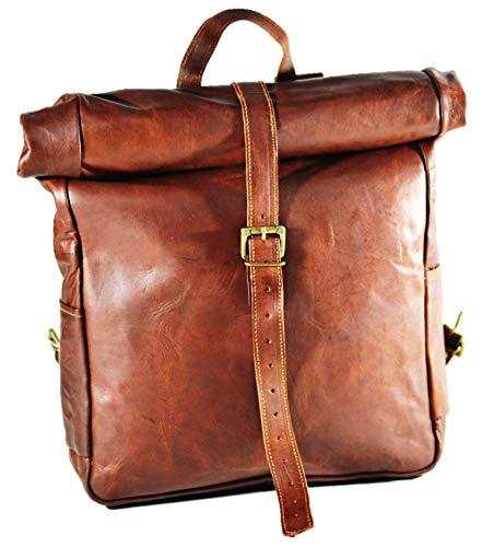 Urban dezire Vintage Leder Rucksack Schule College Book Bag Laptop Rucksack braun