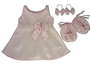 Construya su Bears Armario 15-Inch Ropa Fit Construye Oso Vestido de Raso Lazos Zapatos (Pink)