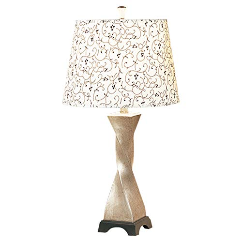 Benzara Polytresin Table Lamp with Floral Print Shade Set of 2 Cream Off-white Embellished