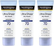 Neutrogena Ultra Sheer Dry-Touch Water Resistant and Non-Greasy Sunscreen Lotion with Broad Spectrum SPF 70, 3