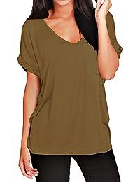 Damen Übergröße Top Rundhals Paillette Geprägt Damen Lang Kurzarm T-Shirt