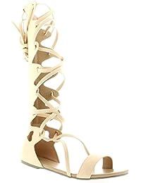 Mujer Altura De La Rodilla De Tiras El Verano Gladiador Botas Romano Cordones Sandalia