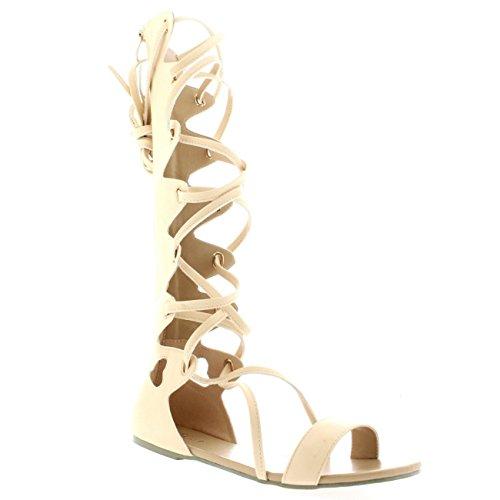 Damen Knie Wohnung Sommer Gladiator Stiefel Römisch Schnüren Sandale Nude