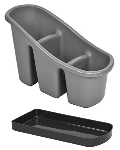 Silver Plastic Cutlery Utensil Holder Basket / Sink Drainer Organiser Tidy or Desk Storage Stand Caddy w/ Drip Tray (Silver)